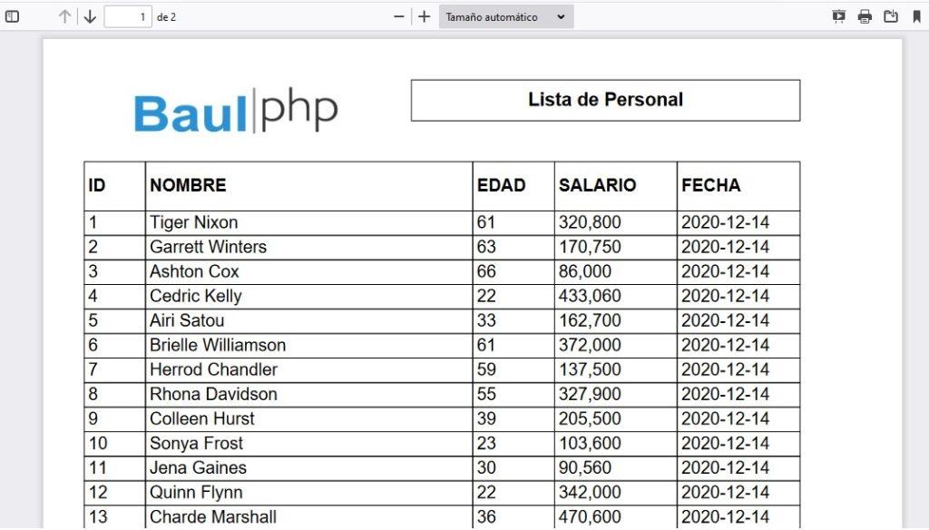 Generar archivo PDF a partir de MySQL usando PHP