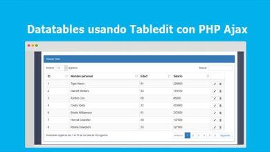 Datatables usando Tabledit con PHP Ajax