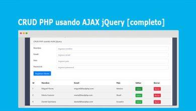 CRUD PHP usando AJAX jQuery