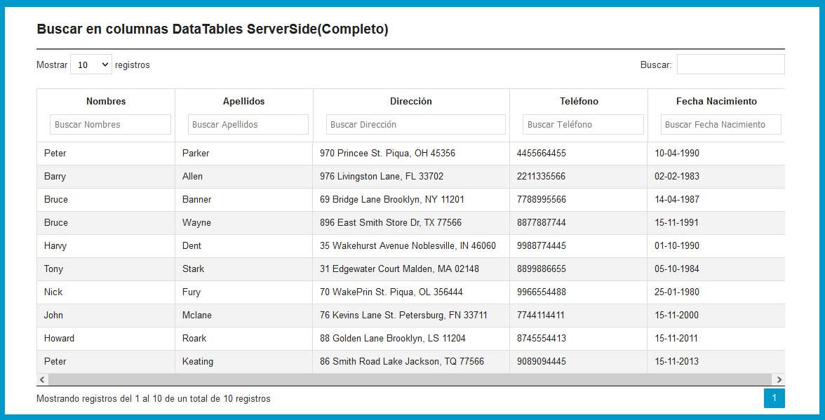 Buscar en columnas DataTables (Completo)