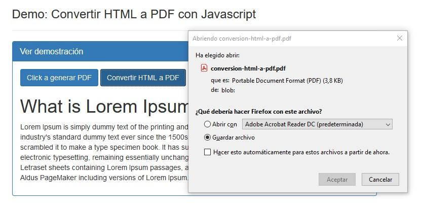 Guardar PDF creado por JavaScript