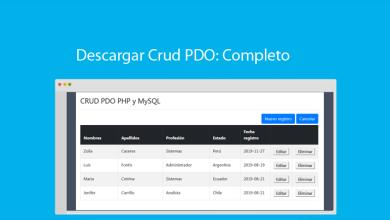Descargar Crud PDO Ejemplo Completo