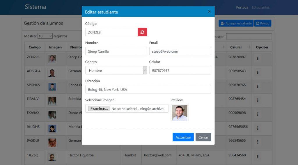 Editar registro Datatables PDO