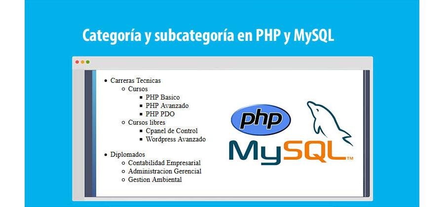 Descargar Categoría y Subcategoría con PHP & MySQL