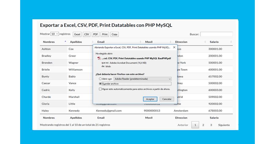 Descargar: Exportar Datatable a excel csv pdf copy print